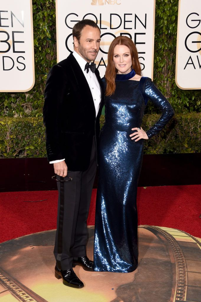 BEVERLY HILLS, CA - JANUARY 10:  (L-R) Designer Tom Ford and actress Julianne Moore attend the 73rd Annual Golden Globe Awards held at the Beverly Hilton Hotel on January 10, 2016 in Beverly Hills, California.  (Photo by Jason Merritt/Getty Images)