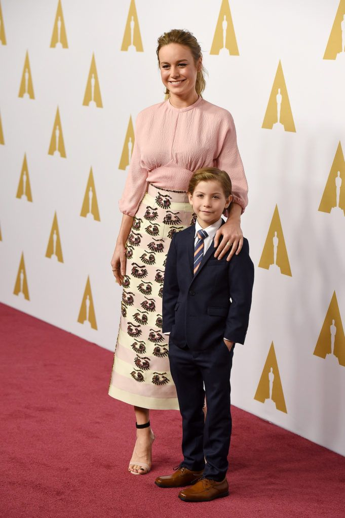 BEVERLY HILLS, CA - FEBRUARY 08:  Actress Brie Larson (L) and actor Jacob Tremblay attend the 88th Annual Academy Awards nominee luncheon on February 8, 2016 in Beverly Hills, California.  (Photo by Kevin Winter/Getty Images)