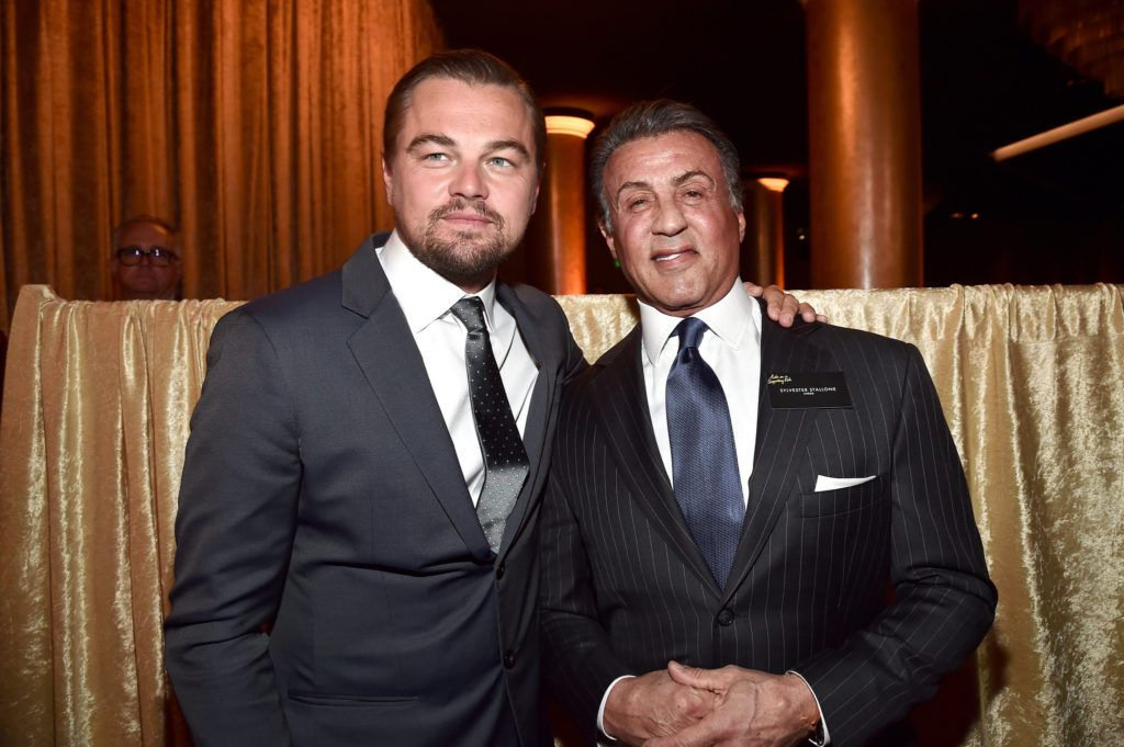 BEVERLY HILLS, CA - FEBRUARY 08:  Actors Leonardo DiCaprio (L) and Sylvester Stallone attend the 88th Annual Academy Awards nominee luncheon on February 8, 2016 in Beverly Hills, California.  (Photo by Alberto E. Rodriguez/Getty Images)