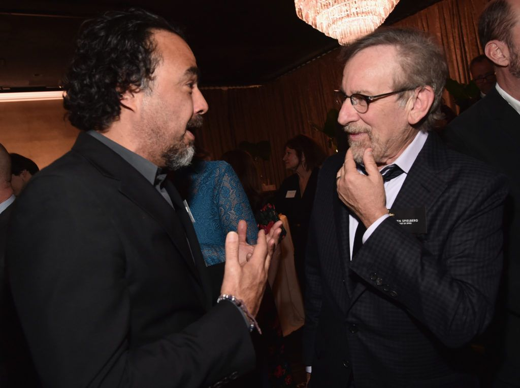 BEVERLY HILLS, CA - FEBRUARY 08:  Director/screenwriter Alejandro Gonzalez Inarritu (L) and director/producer Steven Spielberg attend the 88th Annual Academy Awards nominee luncheon on February 8, 2016 in Beverly Hills, California.  (Photo by Alberto E. Rodriguez/Getty Images)