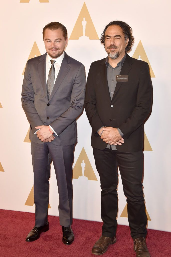 BEVERLY HILLS, CA - FEBRUARY 08:  Actor Leonardo DiCaprio (L) and director Alejandro Gonzalez Inarritu attend the 88th Annual Academy Awards nominee luncheon on February 8, 2016 in Beverly Hills, California.  (Photo by Kevin Winter/Getty Images)