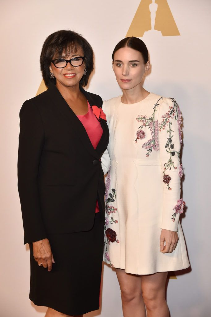 BEVERLY HILLS, CA - FEBRUARY 08:  Academy of Motion Picture Arts and Sciences President Cheryl Boone Isaacs (L) and actress Rooney Mara attend the 88th Annual Academy Awards nominee luncheon on February 8, 2016 in Beverly Hills, California.  (Photo by Kevin Winter/Getty Images)