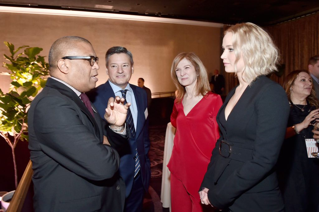 BEVERLY HILLS, CA - FEBRUARY 08:  (L-R) Producer/director Reginald Hudlin, Head of Content Acquisition for Netflix Ted Sarandos, Academy of Motion Picture Arts and Sciences CEO Dawn Hudson and actress Jennifer Lawrence attend the 88th Annual Academy Awards nominee luncheon on February 8, 2016 in Beverly Hills, California.  (Photo by Alberto E. Rodriguez/Getty Images)