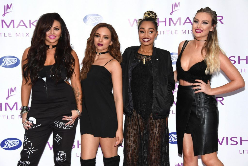 Jesy Nelson, Jade Thirlwall, Leigh-Anne Pinnock and Perrie Edwards of 'Little Mix' launch their new fragrance 'Wishmaker' at Lakeside Shopping Centre on July 27, 2016 (Photo by Stuart C. Wilson/Getty Images)