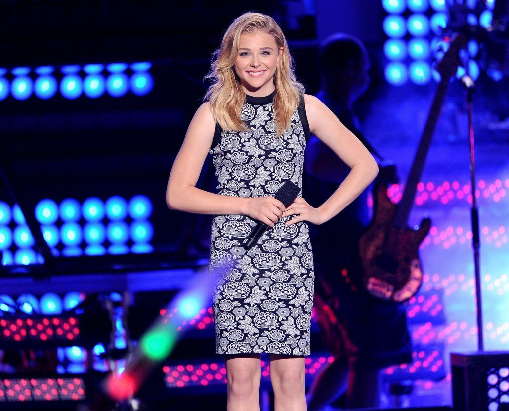 Actress Chloe Grace Moretz speaks onstage at the MTVu Fandom Awards during Comic-Con International 2014 at PETCO Park on July 24, 2014 in San Diego, California.  (Photo by Kevin Winter/Getty Images)