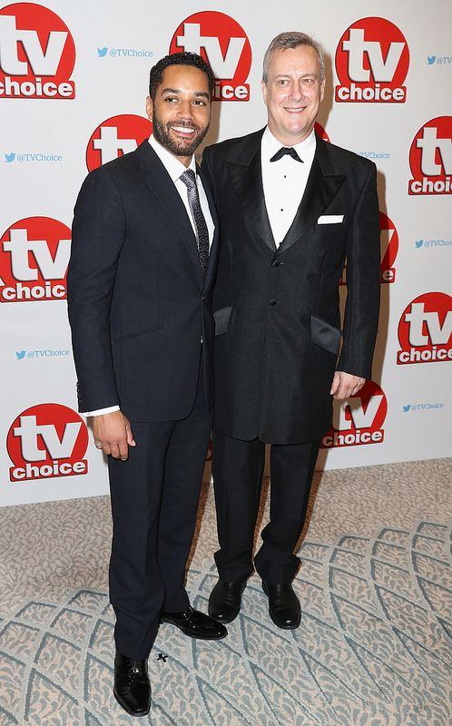 Samuel Anderson and Stephen Tompkinson arrive for the TV Choice Awards at The Dorchester on September 5, 2016 in London, England. (Photo by Chris Jackson/Getty Images)