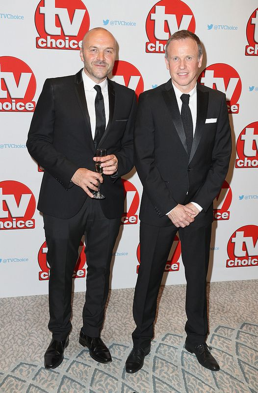 Simon Rimmer and Tim Lovejoy arrive for the TV Choice Awards at The Dorchester on September 5, 2016 in London, England. (Photo by Chris Jackson/Getty Images)