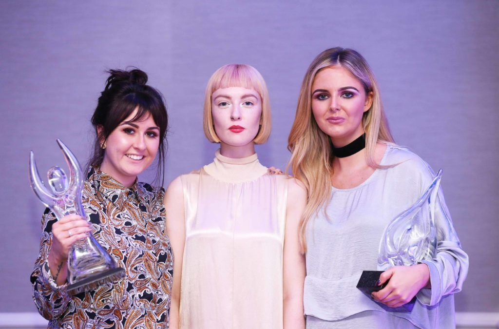 Pictured are the winners of the Peter Mark Colour Trophy 2016 Nicole Murtagh (left) and Megan Murphy (right) with model Louise Gardiner (centre). MC for the night Brendan Courtney. Photography: Sasko Lazarov/Photocall Ireland