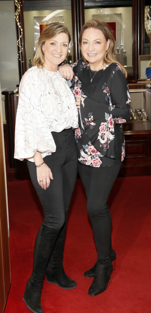 Emma Coppola and Norah Casey at the launch of the newly refurbished Fashion Room at Weir & Sons, Grafton Street-photo Kieran Harnett