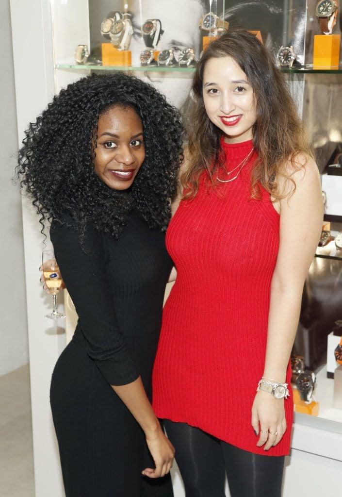 Filomena Kaguako and Nirina Plunkett at the launch of the newly refurbished Fashion Room at Weir & Sons, Grafton Street-photo Kieran Harnett