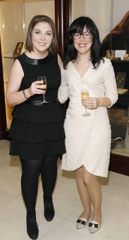 Aoife Doyle and Chupi Sweetman at the launch of the newly refurbished Fashion Room at Weir & Sons, Grafton Street-photo Kieran Harnett