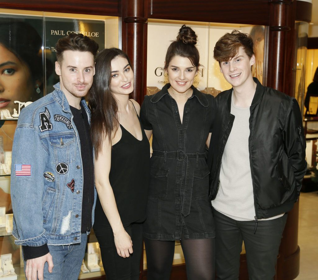 Brian Conway, Sarah Tansey, Kelly Horrigan and Aaron Hurley at the launch of the newly refurbished Fashion Room at Weir & Sons, Grafton Street-photo Kieran Harnett