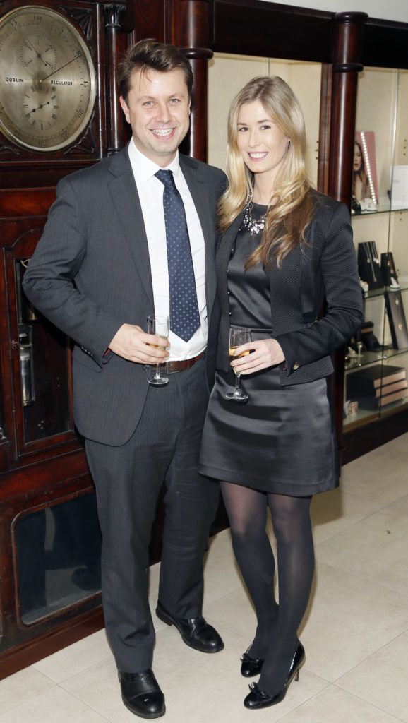 Christian Douglas and Carol Tully at the launch of the newly refurbished Fashion Room at Weir & Sons, Grafton Street-photo Kieran Harnett