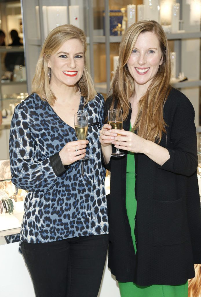 Norah Ferris and Yvonne Pearse at the launch of the newly refurbished Fashion Room at Weir & Sons, Grafton Street-photo Kieran Harnett
