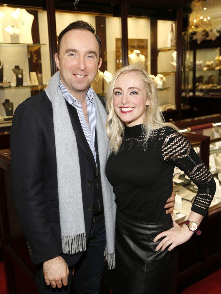 Richard Kavanagh and Dani Farrell at the launch of the newly refurbished Fashion Room at Weir & Sons, Grafton Street-photo Kieran Harnett