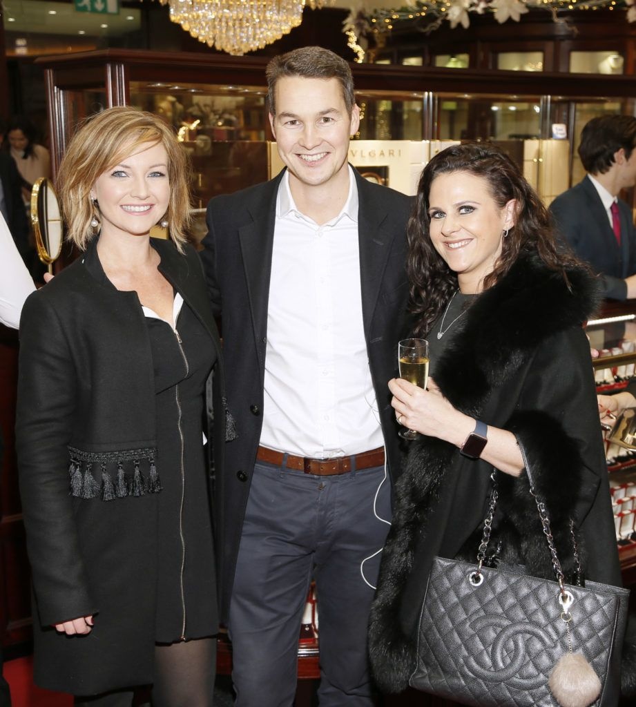 Sarah Coffey, Rob Forsyth and Zoe Kelly at the launch of the newly refurbished Fashion Room at Weir & Sons, Grafton Street-photo Kieran Harnett