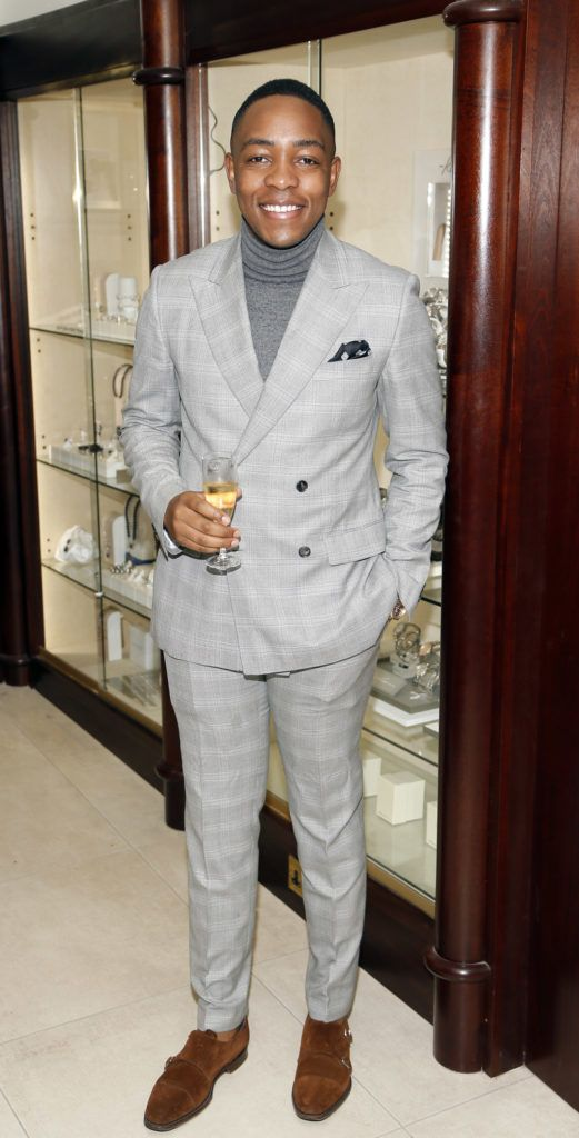Lawson Mpame at the launch of the newly refurbished Fashion Room at Weir & Sons, Grafton Street-photo Kieran Harnett