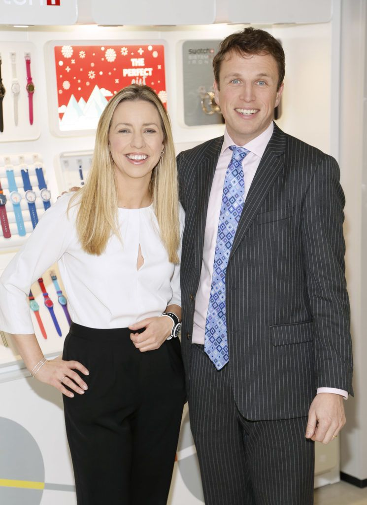 Lisa Freeman and Chris Andrews at the launch of the newly refurbished Fashion Room at Weir & Sons, Grafton Street-photo Kieran Harnett
