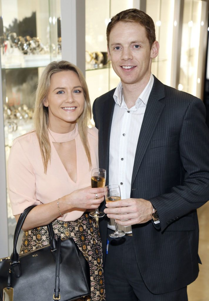 Lorraine Greene and Brendan Gavin at the launch of the newly refurbished Fashion Room at Weir & Sons, Grafton Street-photo Kieran Harnett