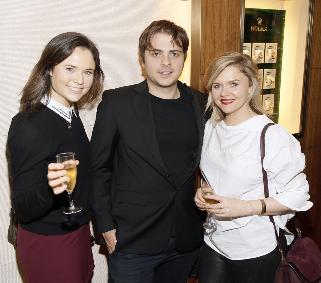 Sarah Grace Keane, Rory Stoney and Dominique McMullan at the launch of the newly refurbished Fashion Room at Weir & Sons, Grafton Street-photo Kieran Harnett