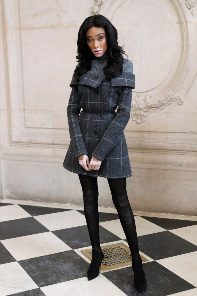 Canadian model Winnie Harlow poses for a photo-call before the Christian Dior's 2018/2019 fall/winter collection fashion show on February 27, 2018 at the Musee Rodin museum in Paris.  (Photo by PATRICK KOVARIK/AFP/Getty Images)