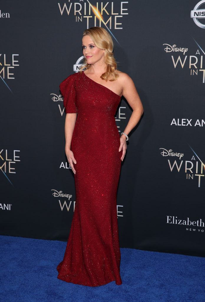 """Reese Witherspoon attends the premiere of Disney's """"A Wrinkle In Time"""" at the El Capitan Theatre on February 26, 2018 in Los Angeles, California.  (Photo by Christopher Polk/Getty Images)"""