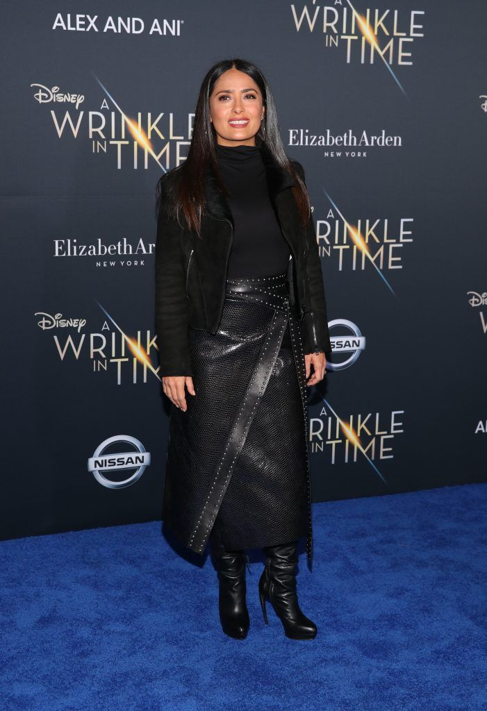 """Salma Hayek attends the premiere of Disney's """"A Wrinkle In Time"""" at the El Capitan Theatre on February 26, 2018 in Los Angeles, California.  (Photo by Christopher Polk/Getty Images)"""