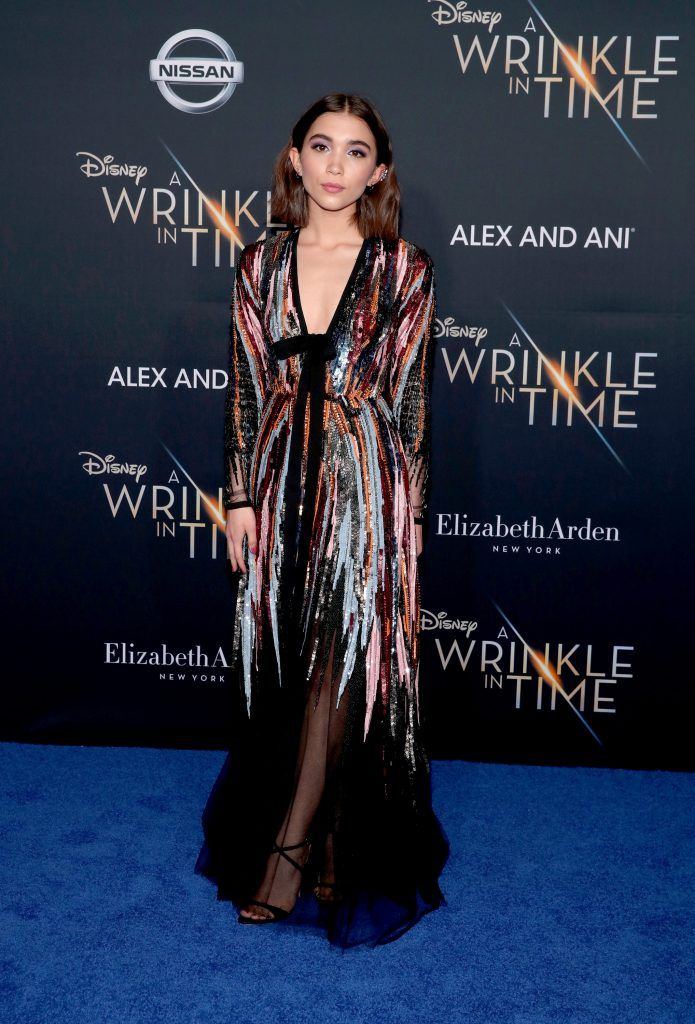 """Rowan Blanchard attends the premiere of Disney's """"A Wrinkle In Time"""" at the El Capitan Theatre on February 26, 2018 in Los Angeles, California.  (Photo by Christopher Polk/Getty Images)"""