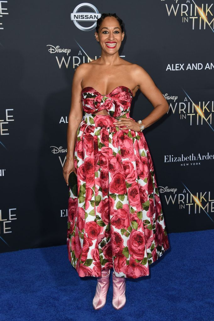 """Actress Tracee Ellis Ross attends the premiere of Disney's """"A Wrinkle in Time,"""" on February 26, 2018, at the El Capitan Theatre in Hollywood, California. (Photo by ROBYN BECK/AFP/Getty Images)"""