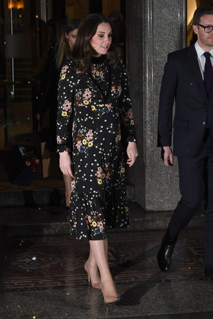 Catherine, Duchess of Cambridge departs after visiting the 'Victorian Giants' exhibition at National Portrait Gallery on February 28, 2018 in London, England.  (Photo by Jeff Spicer/Getty Images)