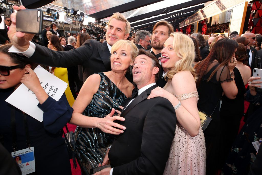 HOLLYWOOD, CA - MARCH 04:  Ruben Ostlund, Terry Notary, Annica Liljeblad, Elisabeth Moss, and Claes Bang attend the 90th Annual Academy Awards at Hollywood & Highland Center on March 4, 2018 in Hollywood, California.  (Photo by Christopher Polk/Getty Images)