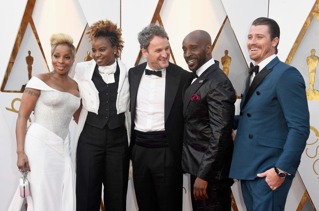 HOLLYWOOD, CA - MARCH 04:  (L-R) Mary J. Blige, Dee Rees, Jason Clarke, Rob Morgan, and Garrett Hedlund attend the 90th Annual Academy Awards at Hollywood & Highland Center on March 4, 2018 in Hollywood, California.  (Photo by Frazer Harrison/Getty Images)