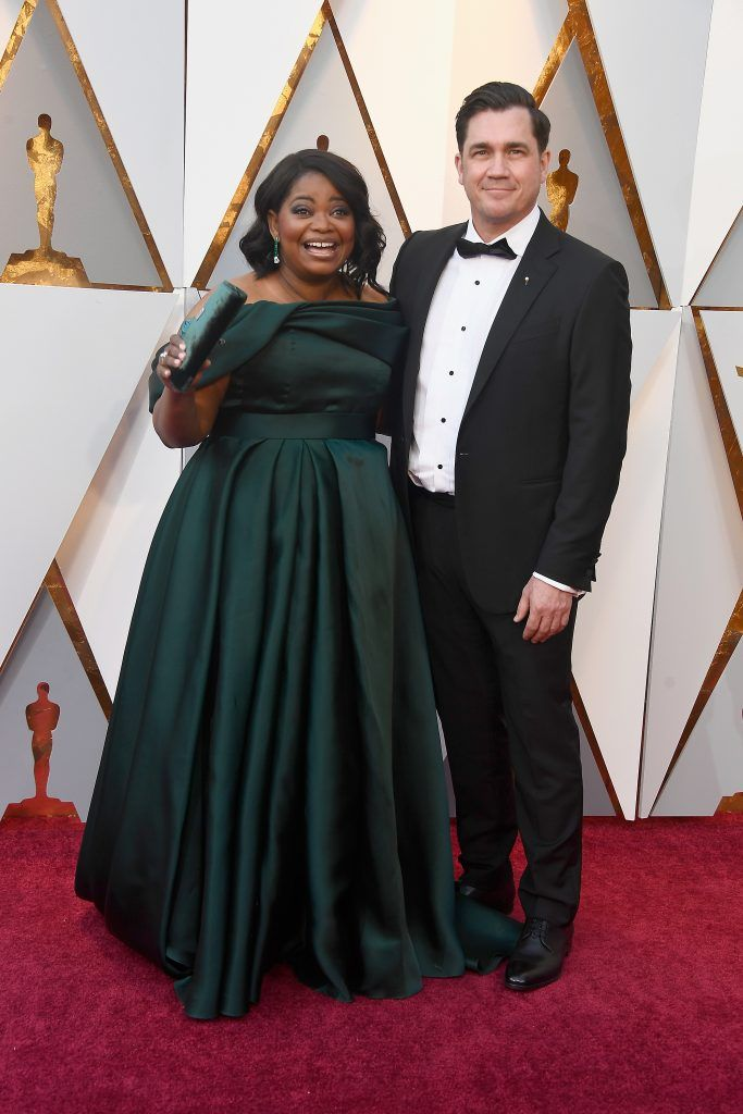 HOLLYWOOD, CA - MARCH 04:  Octavia Spencer (L) and Tate Taylor attend the 90th Annual Academy Awards at Hollywood & Highland Center on March 4, 2018 in Hollywood, California.  (Photo by Frazer Harrison/Getty Images)
