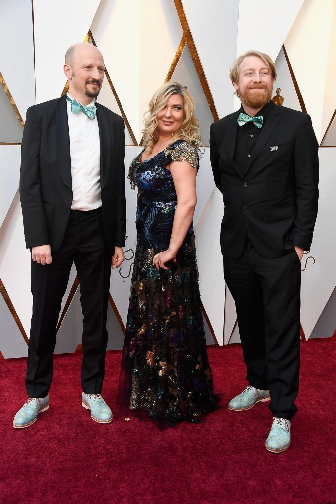 HOLLYWOOD, CA - MARCH 04:  (L-R) Ivan Mactaggart, Dorota Kobiela, and Hugh Welchman attend the 90th Annual Academy Awards at Hollywood & Highland Center on March 4, 2018 in Hollywood, California.  (Photo by Frazer Harrison/Getty Images)