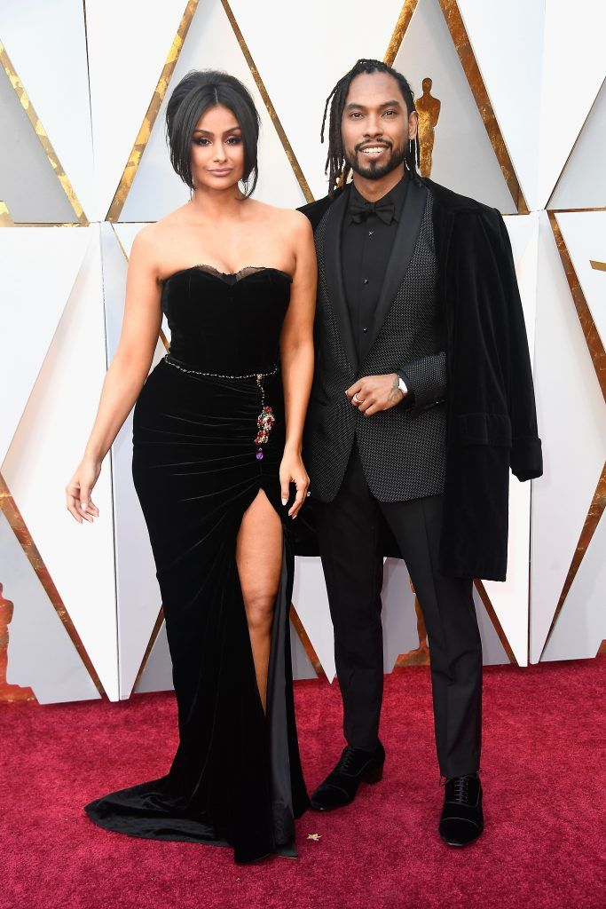 HOLLYWOOD, CA - MARCH 04:  Nazanin Mandi (L) and Miguel attend the 90th Annual Academy Awards at Hollywood & Highland Center on March 4, 2018 in Hollywood, California.  (Photo by Frazer Harrison/Getty Images)