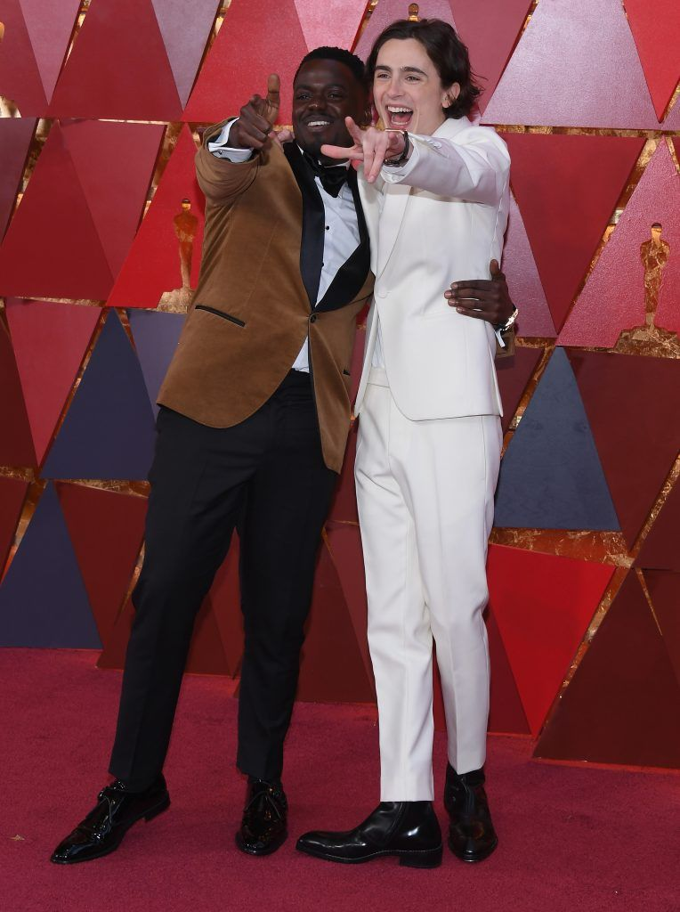 HOLLYWOOD, CA - MARCH 04:  Daniel Kaluuya (L) and Timothee Chalamet attends the 90th Annual Academy Awards at Hollywood & Highland Center on March 4, 2018 in Hollywood, California.  (Photo by Kevork Djansezian/Getty Images)