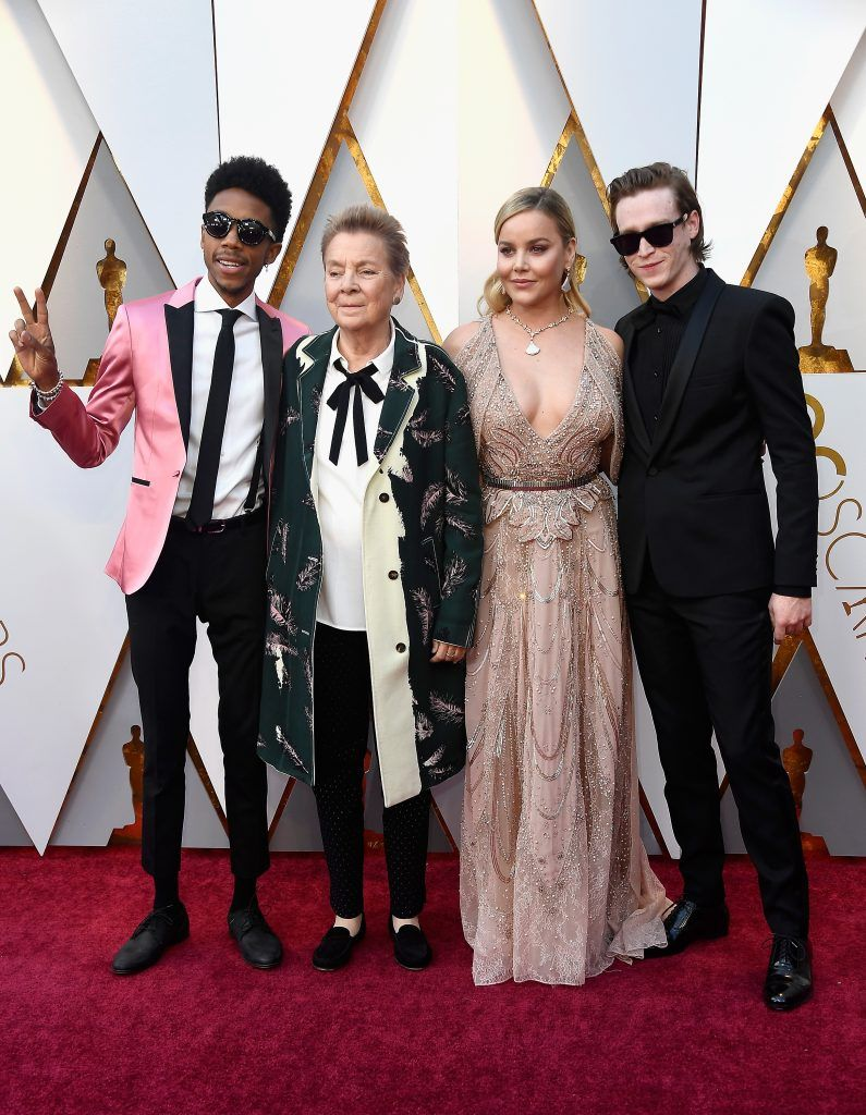 HOLLYWOOD, CA - MARCH 04:  (L-R) Darrell Britt-Gibson, Sandy Martin, Abbie Cornish, and Caleb Landry Jones attend the 90th Annual Academy Awards at Hollywood & Highland Center on March 4, 2018 in Hollywood, California.  (Photo by Frazer Harrison/Getty Images)