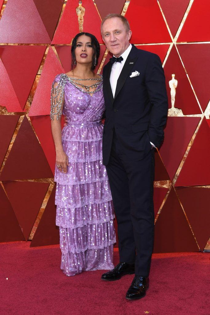 HOLLYWOOD, CA - MARCH 04:  Salma Hayek (L) and François-Henri Pinault attends the 90th Annual Academy Awards at Hollywood & Highland Center on March 4, 2018 in Hollywood, California.  (Photo by Kevork Djansezian/Getty Images)