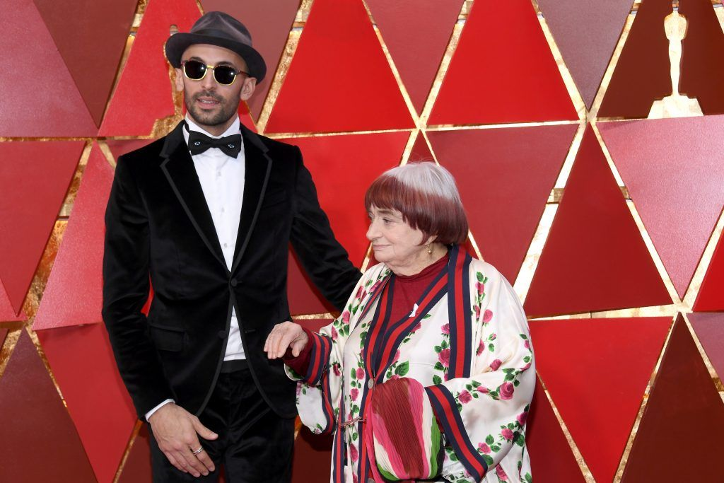 HOLLYWOOD, CA - MARCH 04:   Co-directors JR (L) and Agnes Varda attend the 90th Annual Academy Awards at Hollywood & Highland Center on March 4, 2018 in Hollywood, California.  (Photo by Kevork Djansezian/Getty Images)