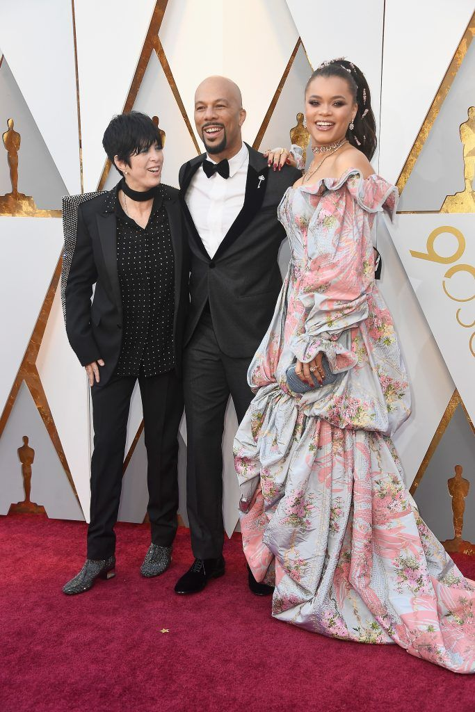 HOLLYWOOD, CA - MARCH 04:  (L-R) Diane Warren, Common, and Andra Day attend the 90th Annual Academy Awards at Hollywood & Highland Center on March 4, 2018 in Hollywood, California.  (Photo by Frazer Harrison/Getty Images)