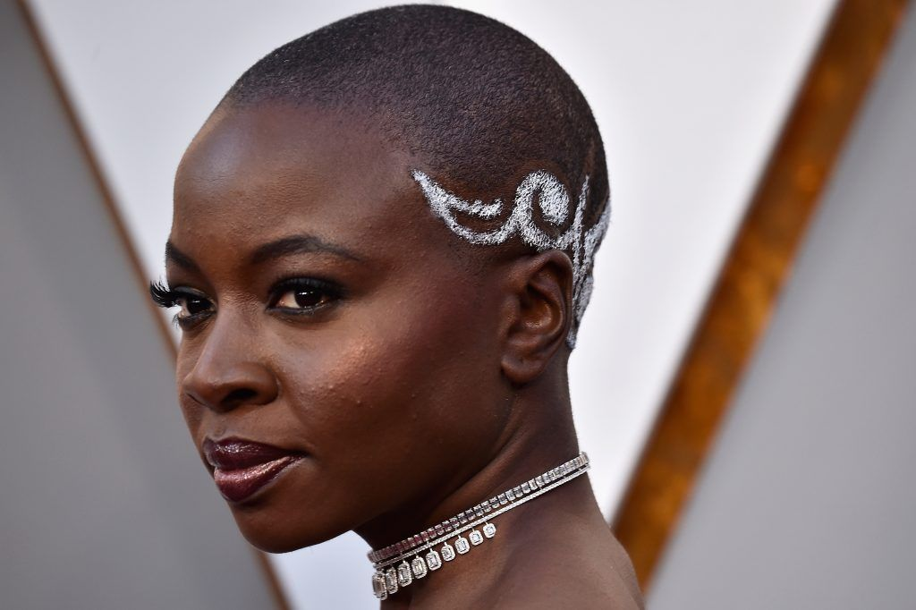 HOLLYWOOD, CA - MARCH 04:  Danai Gurira, hair and necklace details, attends the 90th Annual Academy Awards at Hollywood & Highland Center on March 4, 2018 in Hollywood, California.  (Photo by Frazer Harrison/Getty Images)