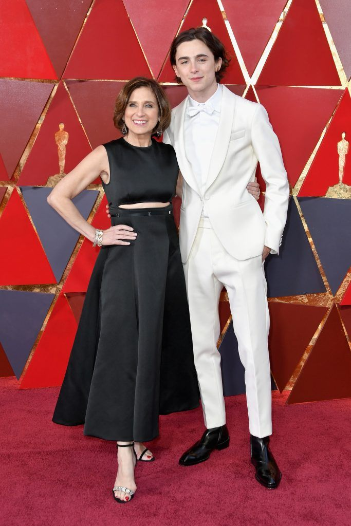 HOLLYWOOD, CA - MARCH 04: Nicole Flender and Timothee Chalamet  attends the 90th Annual Academy Awards at Hollywood & Highland Center on March 4, 2018 in Hollywood, California.  (Photo by Neilson Barnard/Getty Images)