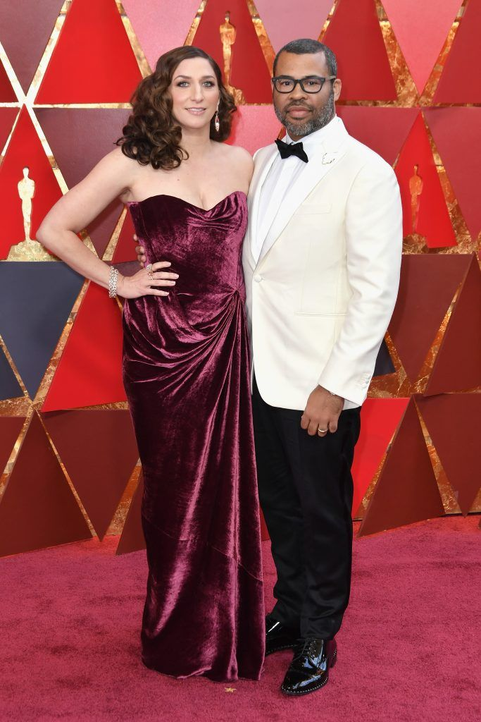 HOLLYWOOD, CA - MARCH 04:  Chelsea Peretti (L) and Jordan Peele attend the 90th Annual Academy Awards at Hollywood & Highland Center on March 4, 2018 in Hollywood, California.  (Photo by Neilson Barnard/Getty Images)