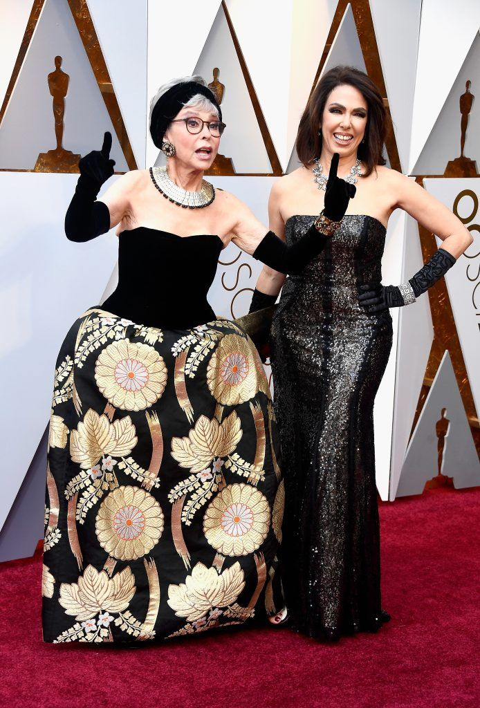 HOLLYWOOD, CA - MARCH 04:  Rita Moreno (L) and Fernanda Luisa Gordon attend the 90th Annual Academy Awards at Hollywood & Highland Center on March 4, 2018 in Hollywood, California.  (Photo by Frazer Harrison/Getty Images)