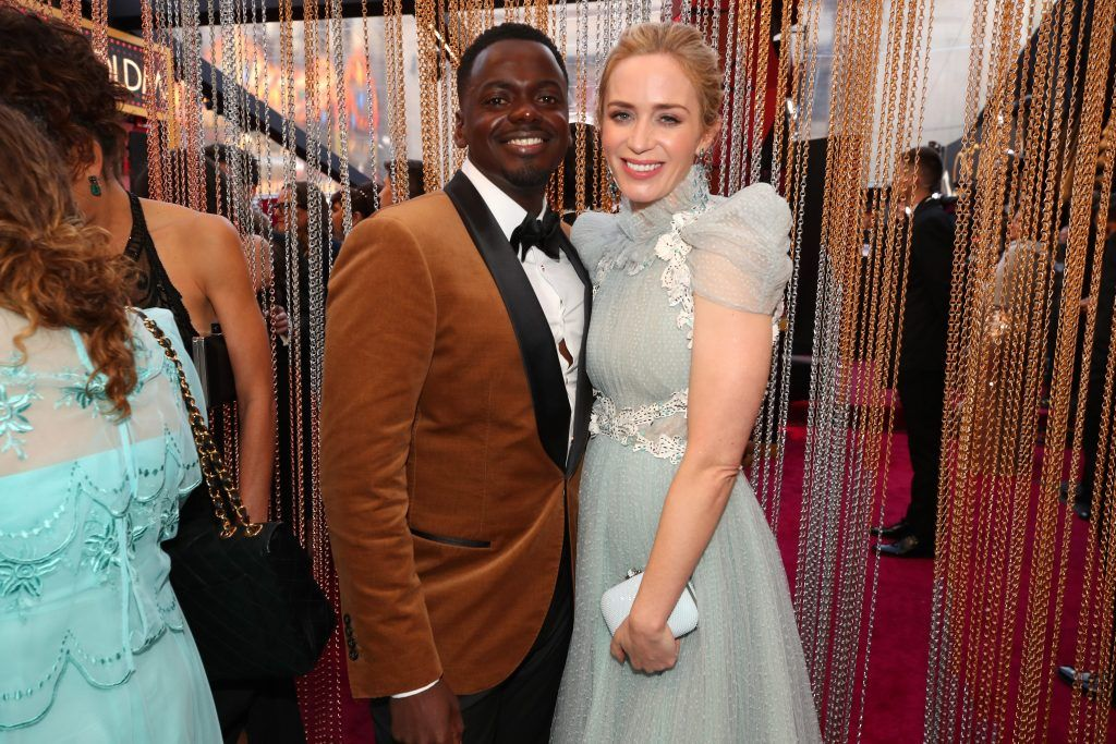 HOLLYWOOD, CA - MARCH 04:  Daniel Kaluuya (L) and Emily Blunt attend the 90th Annual Academy Awards at Hollywood & Highland Center on March 4, 2018 in Hollywood, California.  (Photo by Christopher Polk/Getty Images)