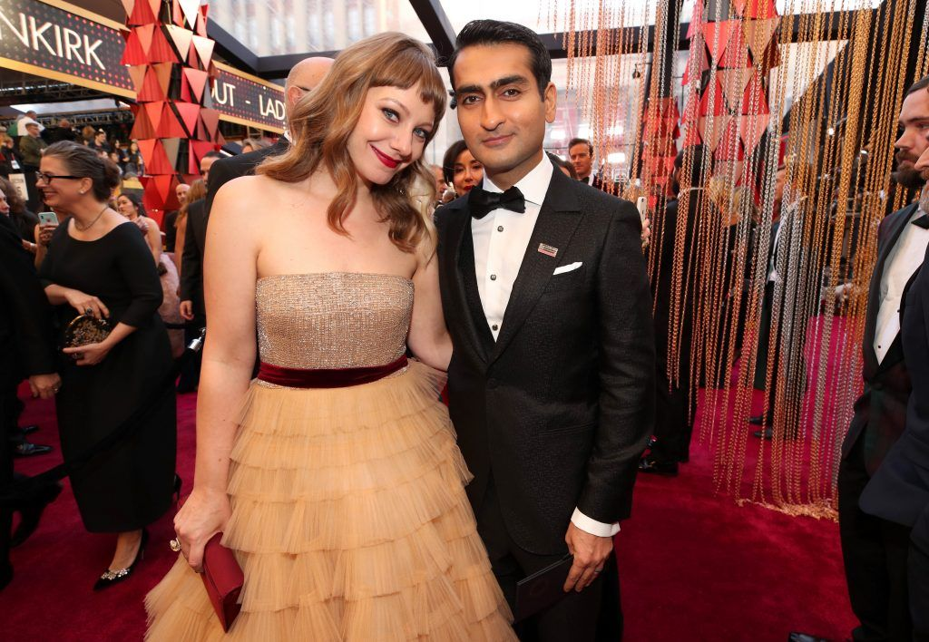 HOLLYWOOD, CA - MARCH 04:  Kumail Nanjiani (R) and Emily V. Gordon attend the 90th Annual Academy Awards at Hollywood & Highland Center on March 4, 2018 in Hollywood, California.  (Photo by Christopher Polk/Getty Images)