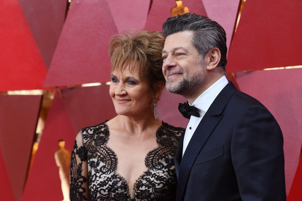 HOLLYWOOD, CA - MARCH 04:  Andy Serkis (R) and Lorraine Ashbourne attend the 90th Annual Academy Awards at Hollywood & Highland Center on March 4, 2018 in Hollywood, California.  (Photo by Kevork Djansezian/Getty Images)