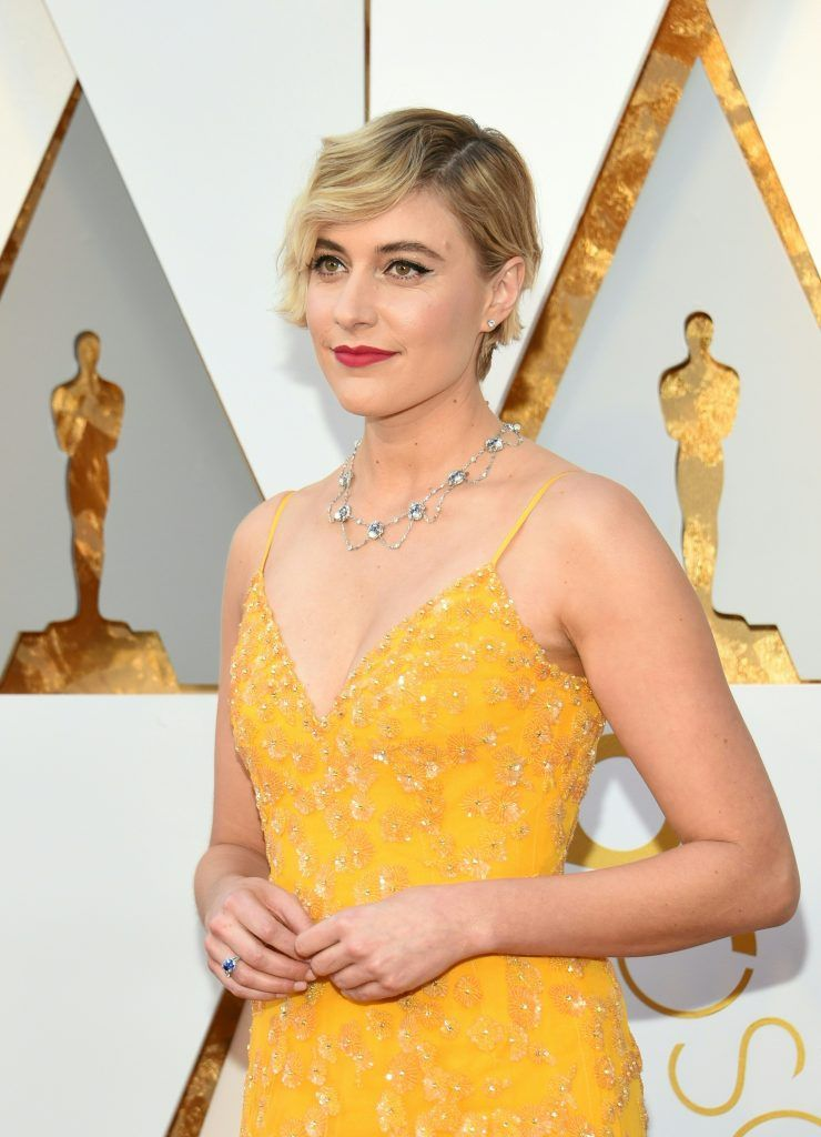 Greta Gerwig arrives for the 90th Annual Academy Awards on March 4, 2018, in Hollywood, California.  / AFP PHOTO / VALERIE MACON        (Photo credit should read VALERIE MACON/AFP/Getty Images)