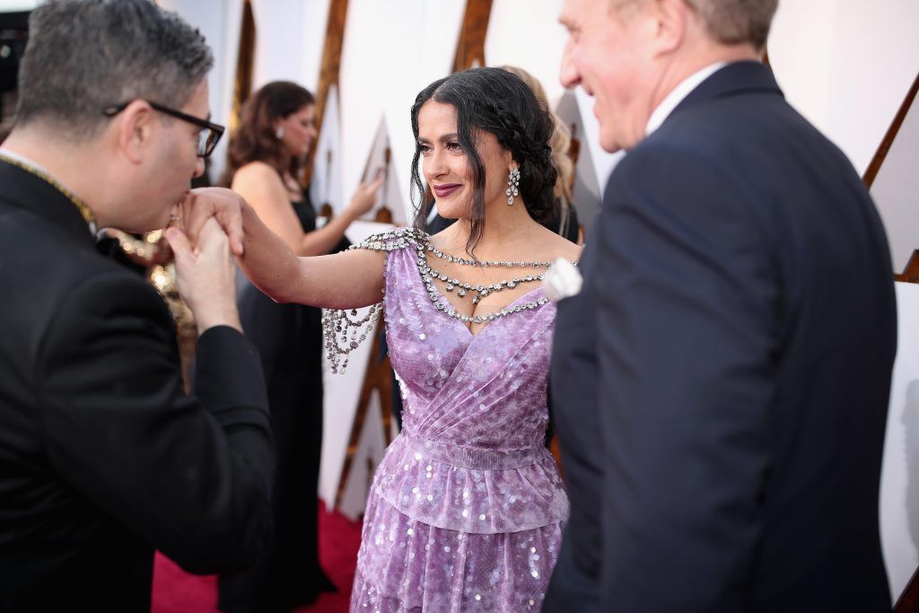 HOLLYWOOD, CA - MARCH 04:  Salma Hayek Pinault attends the 90th Annual Academy Awards at Hollywood & Highland Center on March 4, 2018 in Hollywood, California.  (Photo by Christopher Polk/Getty Images)