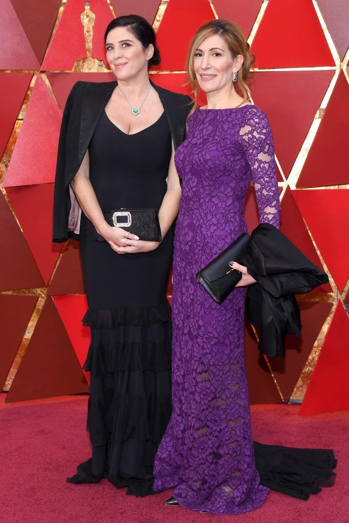 HOLLYWOOD, CA - MARCH 04: Gisella Marengo (L) and Nikolina Angelkova attend the 90th Annual Academy Awards at Hollywood & Highland Center on March 4, 2018 in Hollywood, California.  (Photo by Kevork Djansezian/Getty Images)